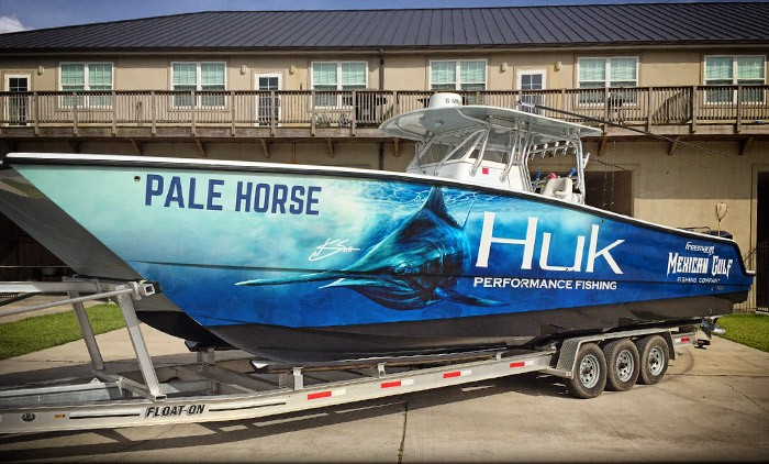huk gear boat wrap. The Pale Horse, Kevin beach, at MGFC photo.